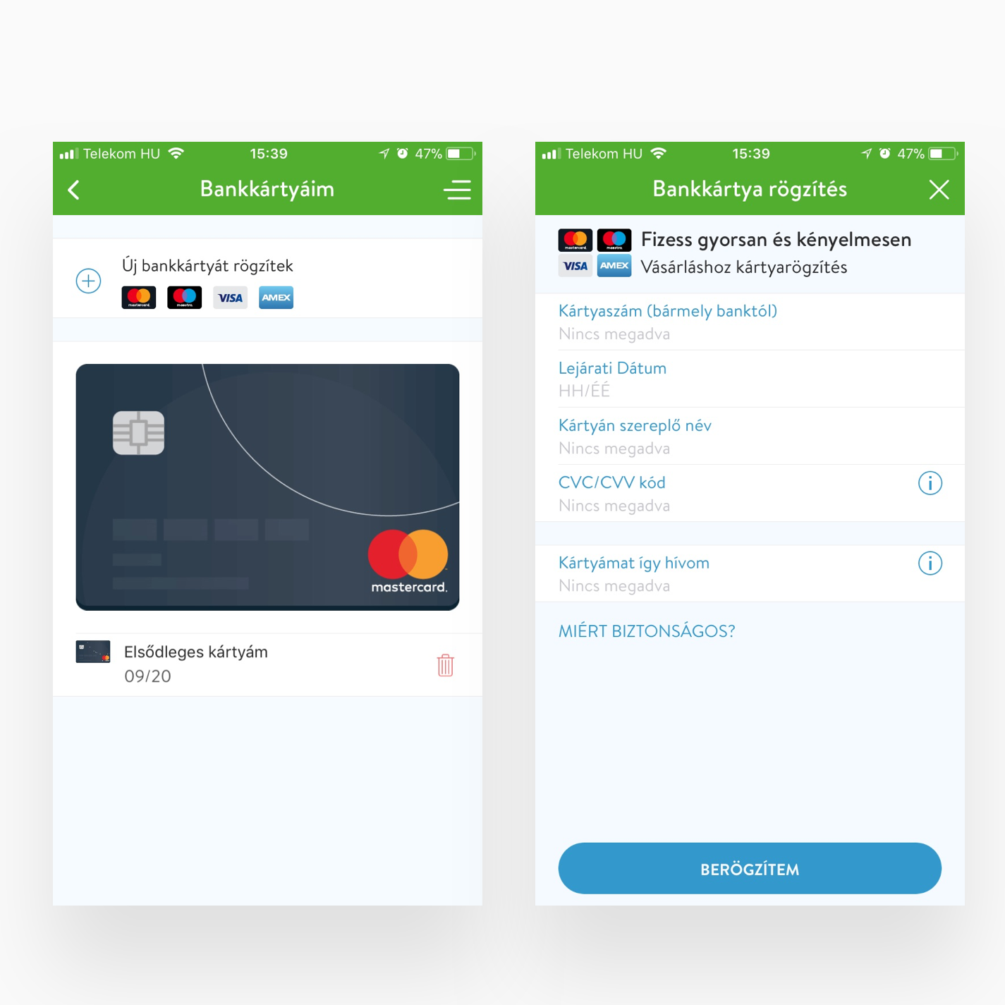 Bankkártya rögzítés és Bankkártyáim