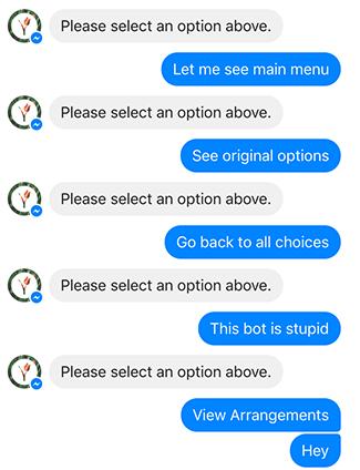 Ez történik, ha a chatbot nem enged visszalépni minket egy előző lépésre, és így nem tudunk másik utat bejárni